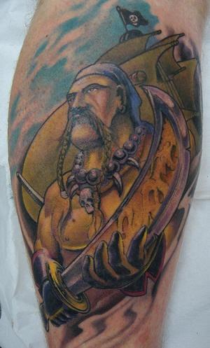 Warrior viking pirate tattoo with ship