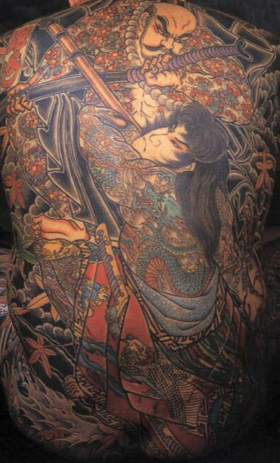 Japanese warriors fight tattoo on whole back