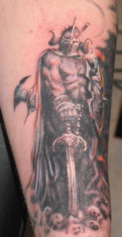 Dark warrior tattoo with big sword