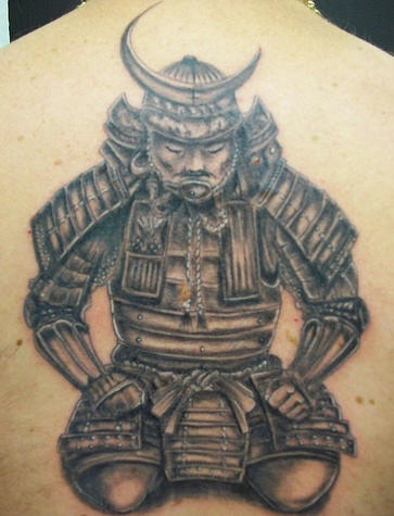 tattoo of japanese warrior in helmet decorated with new. Black Bedroom Furniture Sets. Home Design Ideas