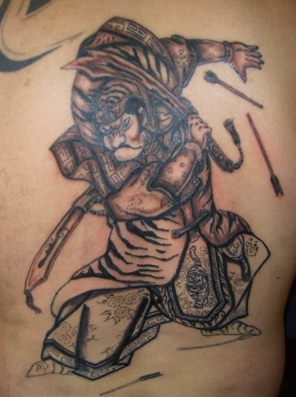 Fighting warrior tattoo in brown color
