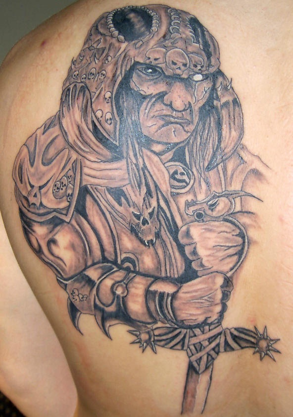 Old warrior tattoo with sword