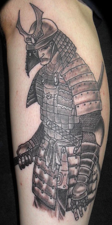 Sad japanese warrior tattoo