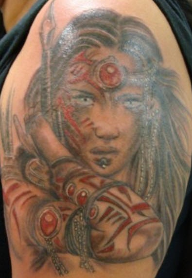 Beautiful girl warrior with red tribal signs tattoo