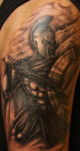 Spartan warrior with spear black tattoo