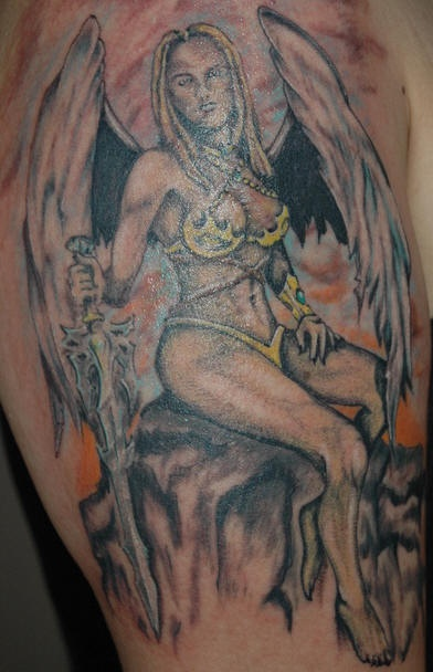 Warrior tattoo of girl with wings and sword on rock