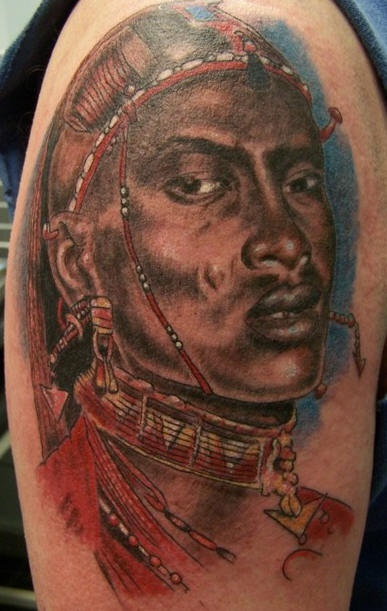 African warrior head tattoo with red colored form