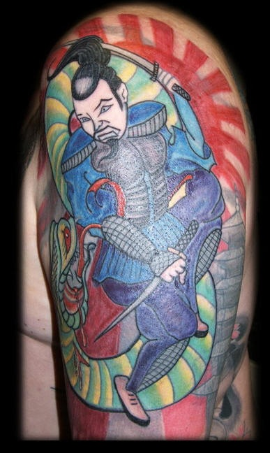 Japanese warrior fighting with snake tattoo