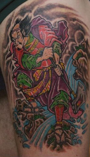 Colorful tattoo of warrior with big axe