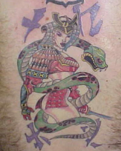 Female japanese warrior tattoo with green snake