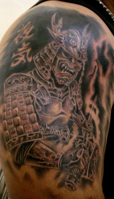 Warrior tattoo of japanese angry dark warrior