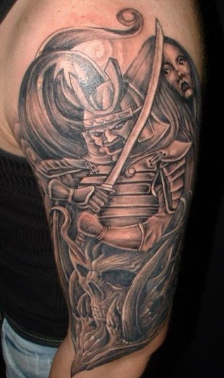 Angry japanese warrior, skull and girl on tattoo