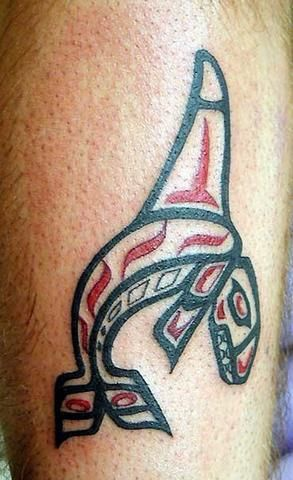Water animal tattoo with shark in egyptian style