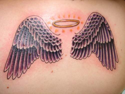 Wings and halo tattoo design