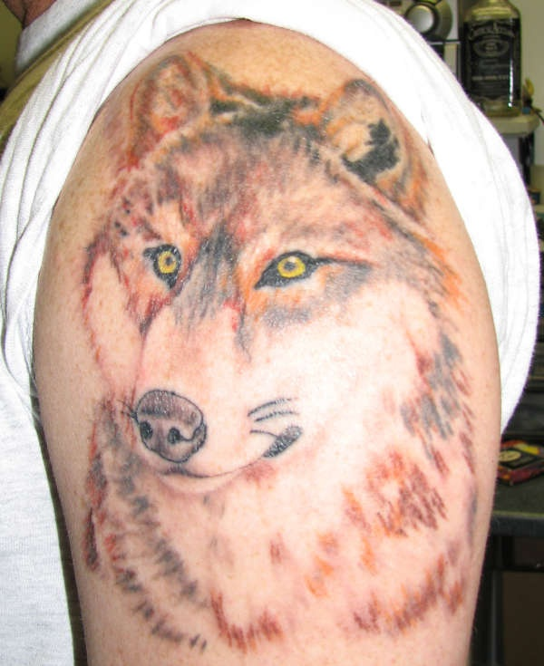 Colored wolf with yellow eyes tattoo