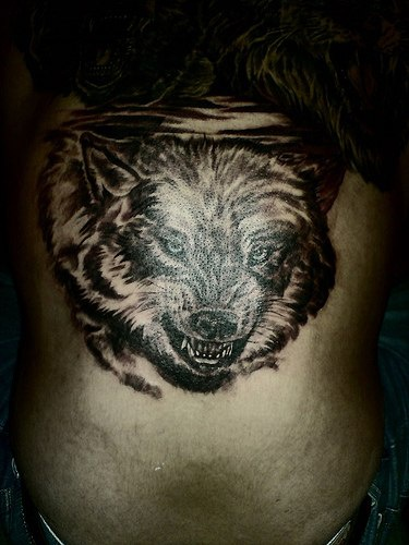 Tattoo with bad angry wolf on back