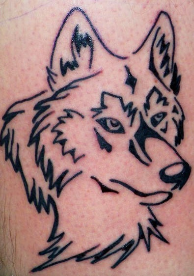Wolf head tattoo designed by black lines