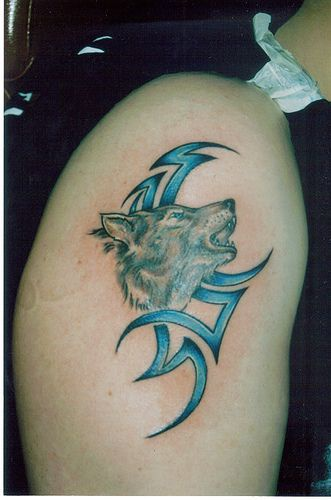 Howling wolf tattoo with blue tribal sign