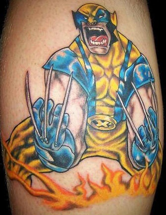 Comics wolverine in flame tattoo