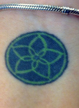 Blue and green lotus on wrist