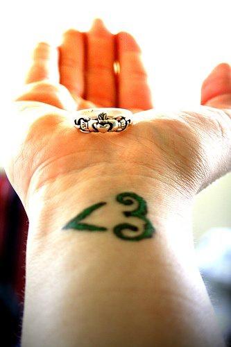 Tatuaggio sul polso il disegno verde