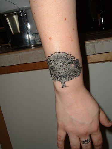 Tree outward wrist tattoo