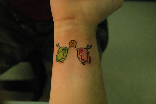 Two coloured birds inner wrist tattoo