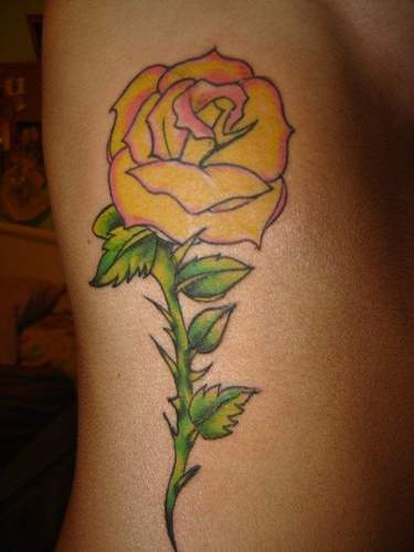 Yellow rose large tattoo - Tattooimages.biz Yellow Rose With Butterfly Tattoo