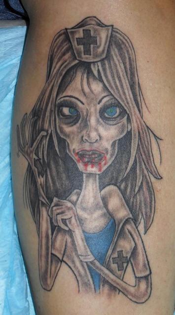 Funny zombie nurse tattoo