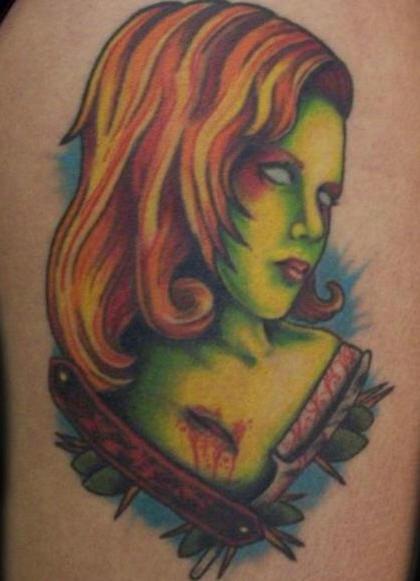 Zombie portrait tattoo