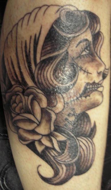 Vintage zombie girl tattoo