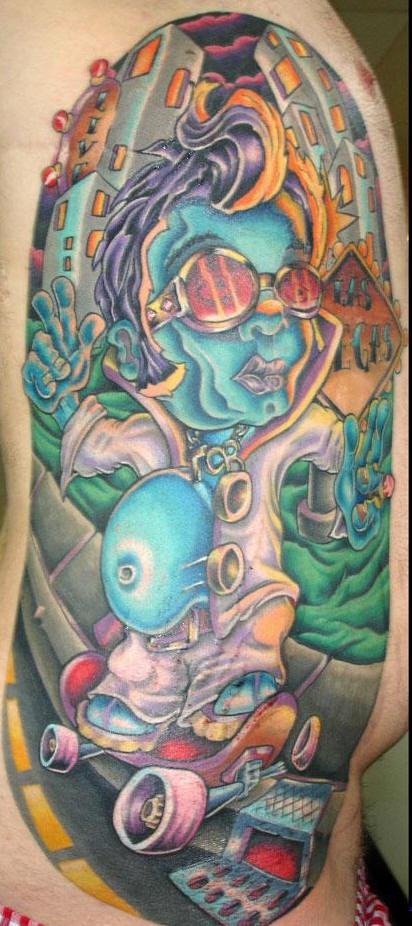 Skater zombie tattoo