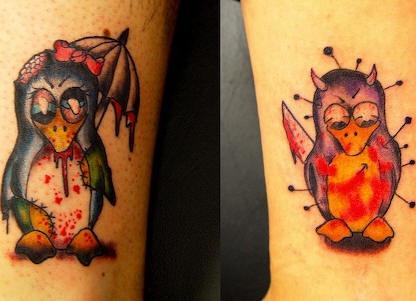 Zombie pinguin tattoo