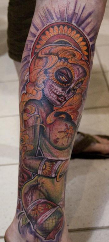 Muerte zombie girl tattoo