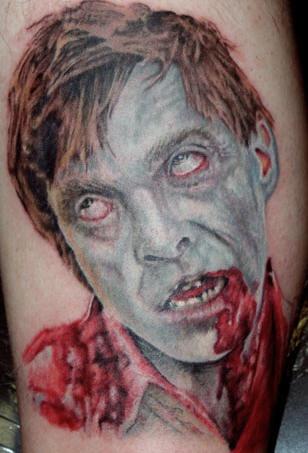 Cool zombie head tattoo