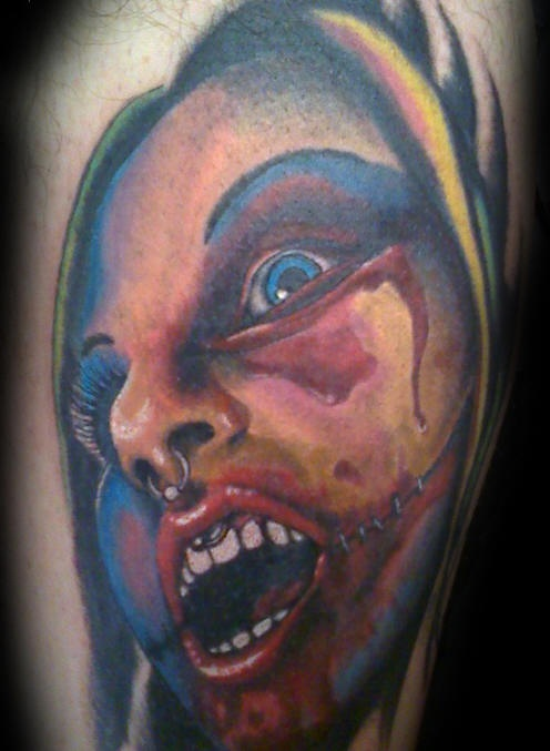 Zombie woman face tattoo