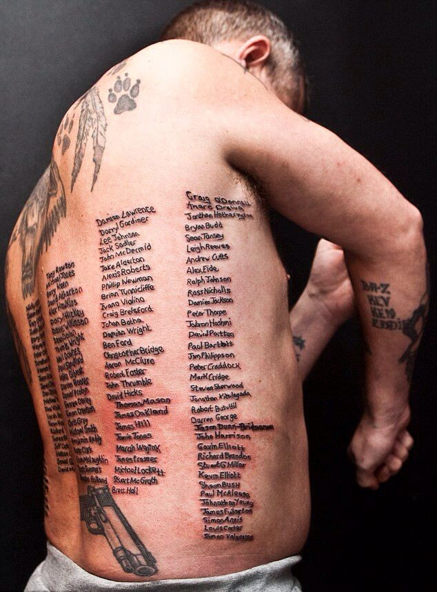 Tattoo as a tribute to memory of those killed fellow