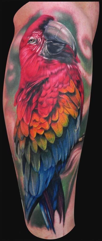 Tattoo bird parrot on hand