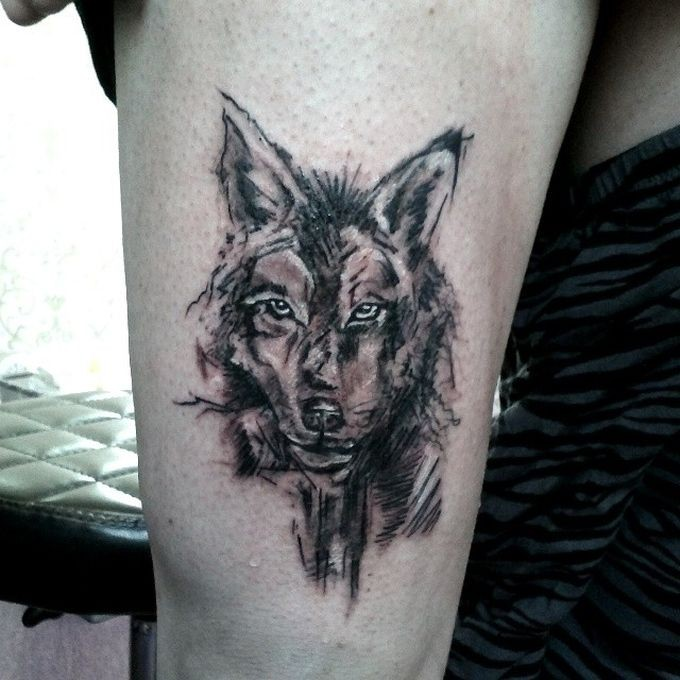 Tattoo black wolf watercolor
