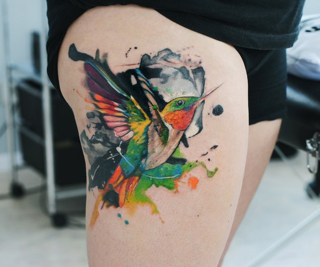 Tattoo of hummingbird in watercolour by dopeindulgence