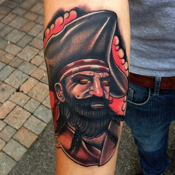 Tattoo on arm old school pirate idea