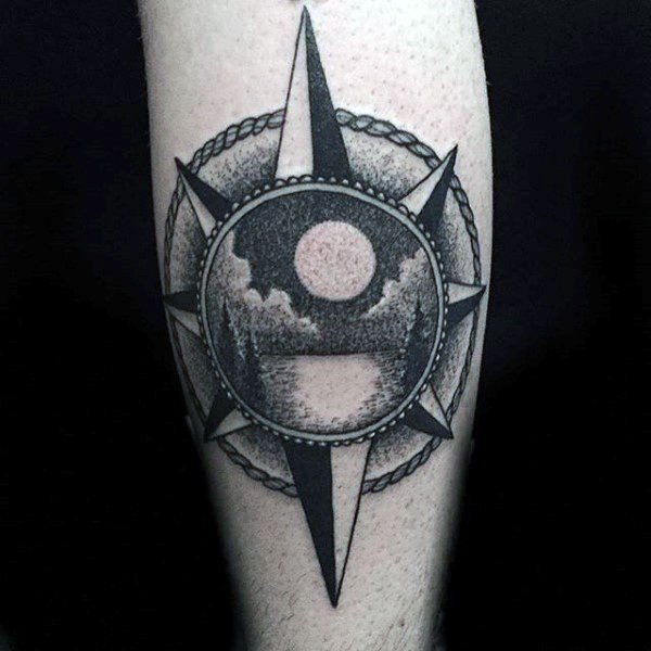 Tattoo painted in dotwork style of star stylized with night lake picture