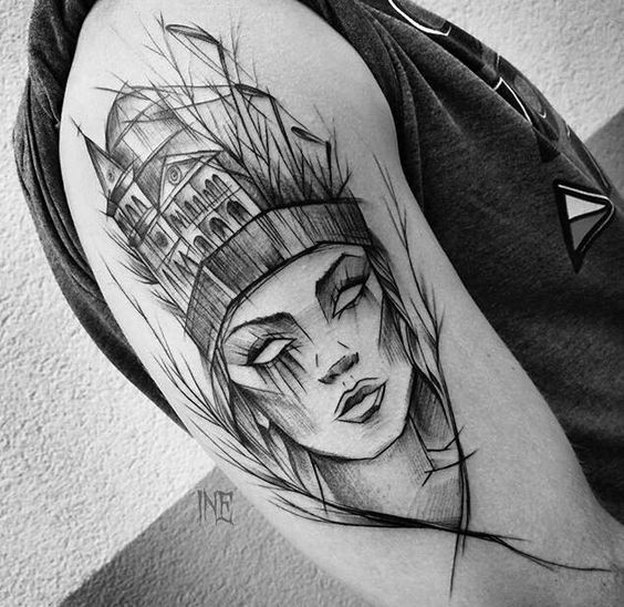 Tattoo sketch painted in surrealism style by Inez Janiak of woman with house shaped hat