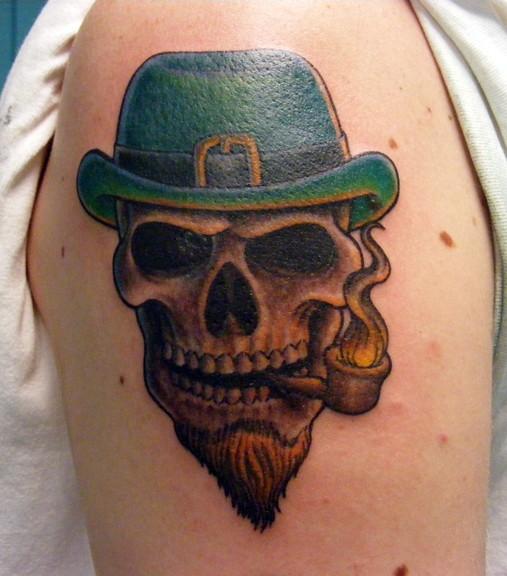 Leprechaun skull in hat tattoo