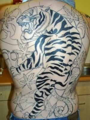 Full back tiger in the asian style tattoo