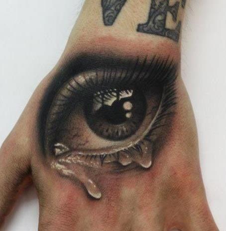 Tearful realistic eye tattoo on wrist
