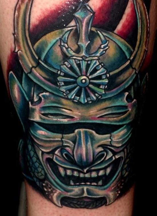Terrible japanese warrior mask tattoo