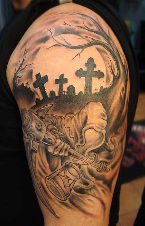 Terrifying black and white dark cemetery tattoo on shoulder with monster ghost