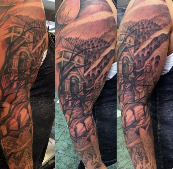 Terrifying black and white sleeve tattoo of big old for Cemetery tattoo pics