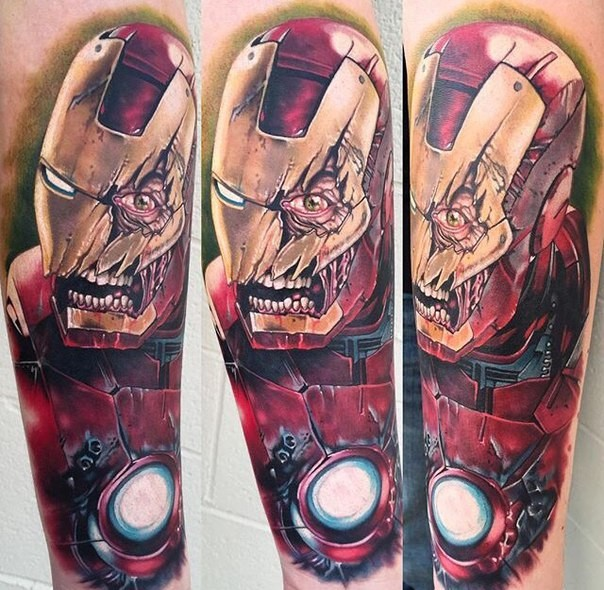 Terrifying looking colored arm tattoo of corrupted Iron-man
